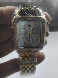 Moda deco online-Más caliente !!! Michele Deco Diamond Cronógrafo / día / fecha totalmente funcional Reloj de cuarzo dorado vestido de mujer de moda Relojes