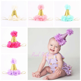 Wholesale Baby Birthday Crowns - baby flower crown headbands for girls gold crown hairband kids diy hair accessories birthday princess Headbands newborn photography props