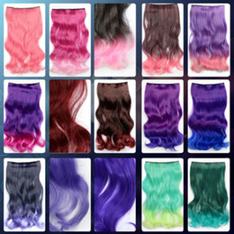 Wholesale Silver Wig Clips - Wholesale-Landisun New One Piece Unisex Long Curly Hair Extension Clip-on Cosplay Wig 15 Colors Available