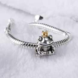Wholesale Glass Frog Charms - 925 Sterling Silver European Charms Bead The Frog Prince Charm Compatible With Snake Chain Bracelet Fashion Female DIY Jewelry