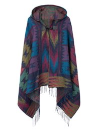 Wholesale Cashmere Hoodie Women - Big scarves winter scarf cashmere poncho women Bohemian Shawl Scarf Tribal Fringe Hoodies blankets Cape shawl Ponchos and Capes