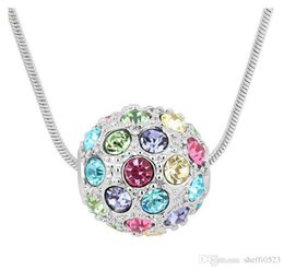 Wholesale Chains For Sale Cheap - Colorful Balls Pendant Necklaces For Women Fashion Austria Crystal Jewelry For Lover 18kgp cheap necklace jewelry 10pcs sales B65