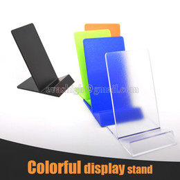 Wholesale Exhibit Displays - 50pcs colorful mobile cell phone display stand Acrylic iphone holder samsumg exhibit support Black,Orange,Blue,Yellow,Green,clear for retail