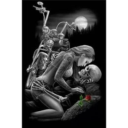 Wholesale Motorcycle Cross - Skull lover Motorcycle Full Drill DIY Mosaic Needlework Diamond Painting Embroidery Cross Stitch Craft Kit Wall Home Hanging Decor