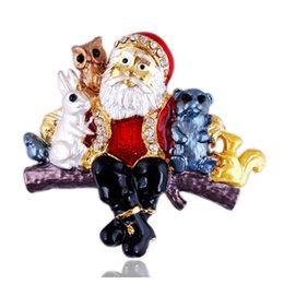 Wholesale Crystal Christmas Tree Brooch - New Brooches Pins Fashion Santa Claus Brooches Christmas Tree Pins Rabbit Squirrel Charms Christmas Decoration Jewelry Children's gift