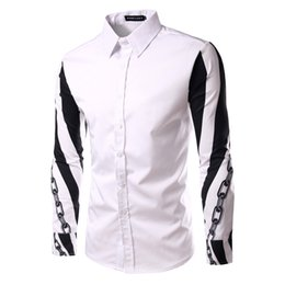 f9bed8a2678 Stylish New Arm link chain pattern Print Casual Shirt Patchwork Long Sleeves  Men s Slim Fit Business Shirt A14