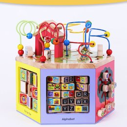 HOT jouets en bois multifonctionnel animaux perles labyrinthe bébé début jouets d'apprentissage horloge blocs calcul 6 visage avec grande boîte livraison gratuite ? partir de fabricateur