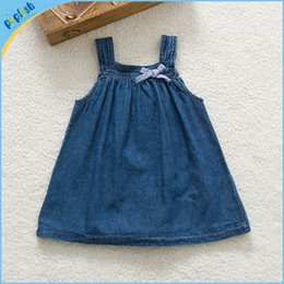 Wholesale Bonnie Babies Kids - New styles online shipping deep blue denim kids bonnie summer dresses 6m-3years baby girls dress jeans