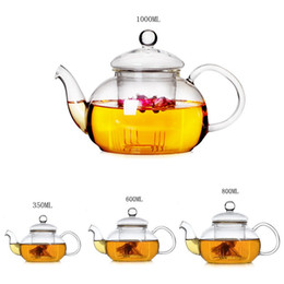 Wholesale teapots wholesale - Wholesale-High Quality Heat Resistant Glass Teapot With Infuser Coffee Tea Leaf Herbal 350ML 600ML 800ML1000ML