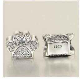 Argentina Se adapta a Pandora Pulseras perros Paw Print Cats Silver Charm Bead Animal Footprint Perlas sueltas Venta al por mayor Diy European Sterling Necklace Jewelry supplier halloween pandora charm bracelet Suministro