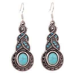 Wholesale Turquoise Earrings For Women - Summer Fine and Fashion Jewelry Charming Ethnic Tibetan Silver Oval Turquoise Style Drop Dangle brincos Earrings for Women