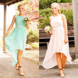 Wholesale Cheap Turquoise Lace Dresses - 2016 Popular Country Bridesamaids Dresses Cheap High Low Beach Garden Wedding Party Bridesmaid Gowns Turquoise Champagne Blush Pink Blue