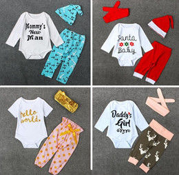 Wholesale Christmas Style Leggings - Christmas letter deer clothes 2016 Navy Arrows Golden Wave Point Neonatal Baby Jumpsuit 3 set climbing clothes + leggings + headband E584