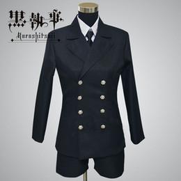 Wholesale Butler Outfit - Anime Black Butler Kuroshitsuji Ciel Phantomhive Cosplay Halloween Outfit Costumes Black Funerals Uniform Suit