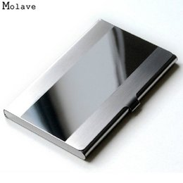 Wholesale Steel Aluminium Case - Wholesale- Naivety New Fashion Stainless Steel Silver Color Aluminium Business ID Credit Card Holder Cover Case AUG04 drop shipping