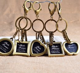 Wholesale Popular Photo Frames - lovers key chain fashion popular design bronzecolor metal photo frame key chain 500pcs lot souvenir photo frame