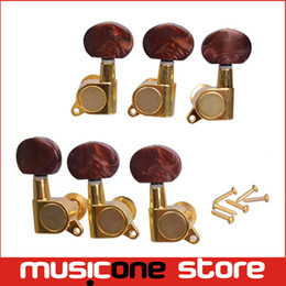 Wholesale Tuners Knob - 3R3L Golden Inline Guitar Tuning Peg key Machine Heads Tuners With Coffee Hemicycle knob For Acoustic Electric GuitarMU0753