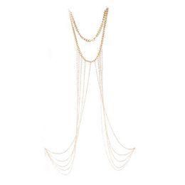 Wholesale Womens Fashion Harness - Womens Sexy Fashion Gold Body Belly Waist Chain Bikini Beach Harness Necklace Tassel Body Chains Jewelry For Women Free Ship