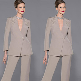 Wholesale Pant Suit 14 - Elegant Mother Of Bride Pan Suit Long Sleeves Appliques Satin Mother Of The Bride Custom Made Formal Suit
