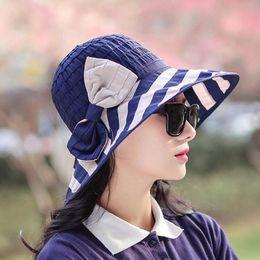 Wholesale Navy Sinamay - Korean Navy Wind Stripe Sun Floppy Bow Wide Brim Organza Hats Sunscreen Fisherman Ma'am Fabric Art Bucket Kentucky Derby Sinamay