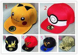 pokemon gorra de béisbol Rebajas 6 Estilo poke sombreros del snapback los niños del algodón del béisbol Deportes adultos de la historieta Hip Hop Picacho tapas de hockey Deporte Sombrero