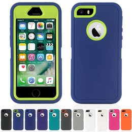 Wholesale Defender Hybrid Silicone - Genuine Defender Series Robot Hard Rugged Hybrid Tough Armor Cases Back Cover For Apple iPhone X 8 7 6S plus 5se Samsung Galaxy Note 8 S8