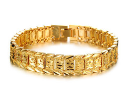 Wholesale Chain Watches For Men - Bangle Bracelets For Women Men 18K Yellow Gold Real Filled Bracelet Solid Watch Chain Link 8.3inch Gold Charms Bracelets