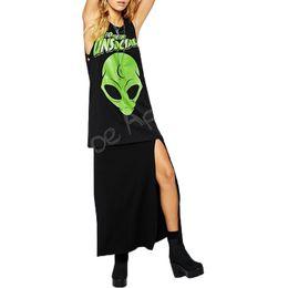 Wholesale Forever Tee - Wholesale-Summer Spring women tank tops 2016 Green Alien print sleeveless women t-shirt Forever Unsocial women cotton top tees plus size