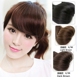 Wholesale Black Synthetic Clip Hair - Sara 10*15CM Side Bang Similar Human Hair Clip in Bangs Fringe Black & Brown Franja Synthetic Hair Extension Pieces 20g