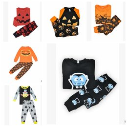 Wholesale halloween pajamas - Kids Halloween Clothing Sets Toddler Pajamas Suit Pumpkin Halloween Costume Children Sleepwear Furniture Sets Outfits KKA2396