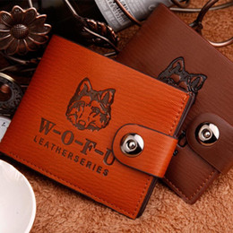 Wholesale Wolf Coin - Hasp Wolf Print Men Wallet Fashion Short Male Purse Ultra-thin High Quality Cardholder Handbags Personalized coin pocket money clip W156