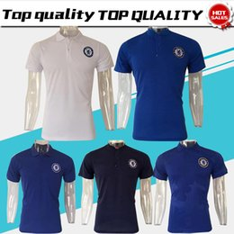 Wholesale Men S Polo Shorts - New Chelsea Polo white Soccer Jersey 17 18 Chelsea blue Polo 2018 Football uniforms sport polo