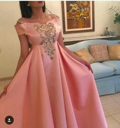 Wholesale Empire Waist Short Prom - Coral Prom Dresses 2016 Off the shoulder Sequins Appliqued Empire Waist Pleated Floor Length Evening Gowns