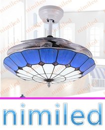 "Wholesale Acrylic Ceiling Lamp Chandelier - nimi887 36"" 42"" Invisible Mediterranean Ceiling Fan Lights 3 Acrylic Blades Restaurant Chandelier Living Room LED Light Pendant Lamps"