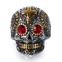 Wholesale Great Shipping - Vintage Gothic Skull Biker Titanium Stainless steel Punk Harley motorcycles Skull Skeleton Cross male Ring For man Free Shipping