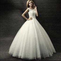 Wholesale Newest Luxury Flowers Dress - Luxury Beautiful Newest Design Scoop Wedding Dress Lace Flower Applique Corset Tulle Skirt Bridal Gowns