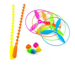 Wholesale Plastic Bamboo Dragonfly - Children Flying Toys Hand Pushing UFO Bamboo dragonfly Toy Flying Disc flying saucer frisbee kids outdoor toys in high quality