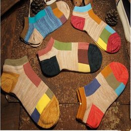 Wholesale Woman Peds - Wholesale-A Pairs Cotton Women And Men Sock Fashion Casual Character Patchwor Calcetines Vintage No Show Peds Socks For Men And Women