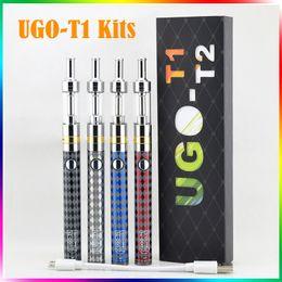 Wholesale Black M14 - UGO-T1 electronic cigarette kits M14 Airflow Control Vaporizer 650mah Variable Wattage battery adjustable voltage UGO T1 e cigarette kits