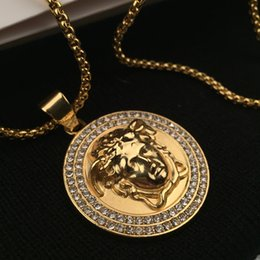 Wholesale Men Gold Chains 18k - Top Quality Medusa Pendant Necklaces For Men 2017 Hot Hiphop Jewelry Gold Plated Luxury Accessories Free Shipping