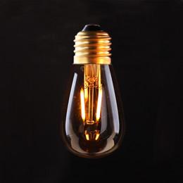 Wholesale E26 E27 Base Bulb - Vintage LED Filament Light Bulb,Edison ST45   S14 Style,1W 2200K,E26 E27 Base ,Decorative Lighting Lamp,Dimmable (Amber Glass)