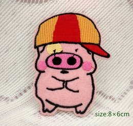 Wholesale Iron Patch Pig - McDull Cartoon pig Embroidered hat Iron on patch applique kids baby decorate Cartoon Shirt Kids Toy Gift baby Decorate Individuality 10pc