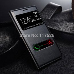 Wholesale Galaxy S3 Flip Cover Battery - View Open Window PU Leather Back Cover Battery Housing Flip Case for Samsung Galaxy S3 SIII 3 i9300 9300 Mobile Phone Cases