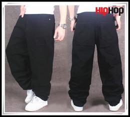 Wholesale Cotton Pant Baggy Hip Hop - New Hot Big Size Eminem Hip Hop Jeans Baggy Jeans Pants Man BlackColor Hiphop Loose Wing Trousers Men Jeans Big Size Pantalones