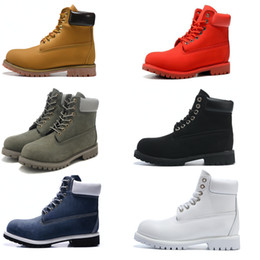 Wholesale White Color Boots - Men's Ankle Basic Contrast Collar Boot Waterproof Boot Men Women Leather Outdoor Boots 6 color EUR 36-46