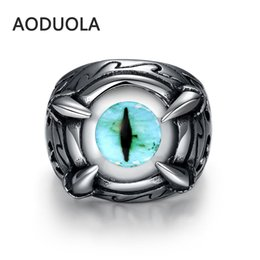 Wholesale Eyeball Rings - The Individualized Punk Style Retro Ring Men's Unique Fashionable Vintage Stainless Steel Blue Eyeball Antique Jewelry Rings