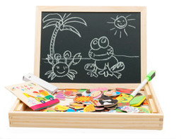 Wholesale Writing Magnetic Boards Children - Free by fedex dhl 50sets Wooden Multifunction Children Animal Puzzle Writing Magnetic Drawing Board Blackboard Learning Education Toys Kid