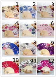 Wholesale Fancy Folding - New Chinese Japanese Vintage Fancy Folding Fan Hand Wooden Lace Silk Flower Dance Fans Party Supplies For Gift