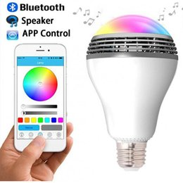 Wholesale Smart Home Audio Wholesale - 2016 Newest PLAYBULB Smart LED Bulb Light Wireless Bluetooth Speaker 110V - 240V E27 3W Lamp Audio for Android ISO iPhone iPad
