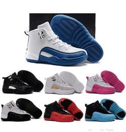 Venta en línea 2018 Barato New 12 niños zapatos de baloncesto para niños niñas zapatillas de deporte niños Babys 12s zapatillas de deporte tamaño 11C-3Y desde fabricantes